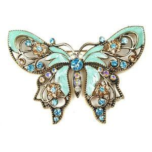 Avon Rhinestone and Enamel Butterfly Brooch